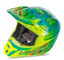 Шлем Fly Racing KINETIC PRO REPLICA Andrew Short Teal/Hi-Vis Yellow