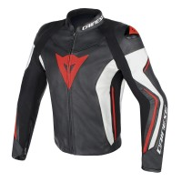 Куртка Dainese ASSEN LEATHER JACKET Black/White/Red-Fluo