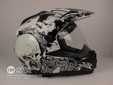 Шлем RSV Korsar Skull чёрный (Decal C, Black) (14644541595828)