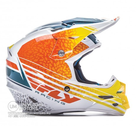 Шлем Fly Racing F2 CARBON ANIMAL Orange/White/Teal  (147221322151)