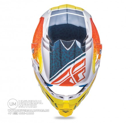 Шлем Fly Racing F2 CARBON ANIMAL Orange/White/Teal  (14722132252597)