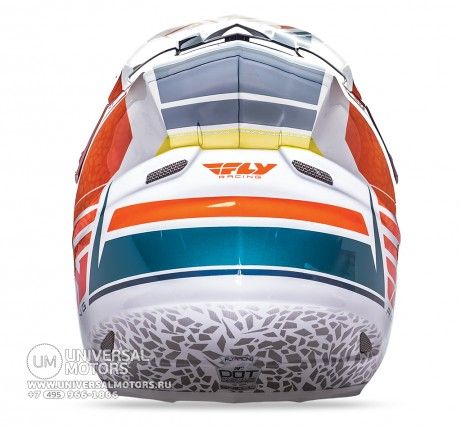 Шлем Fly Racing F2 CARBON ANIMAL Orange/White/Teal  (14722132279735)